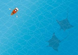 手漕ぎボートとマンタの写真素材 [FYI00254140]