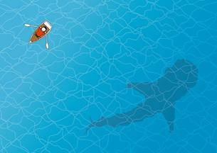 手漕ぎボートとジンベイザメの写真素材 [FYI00254153]