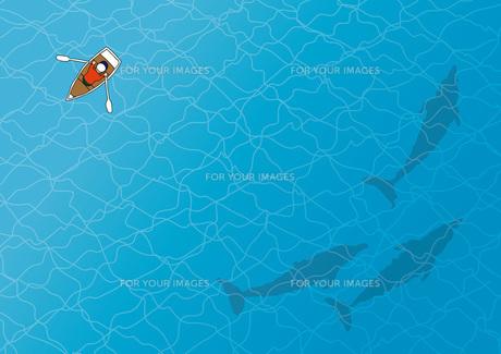 手漕ぎボートとイルカの写真素材 [FYI00254170]