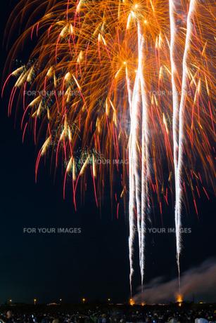 赤川花火記念大会「ヒ・カ・レ・ミ・ラ・イ・ヘ」の写真素材 [FYI00254239]
