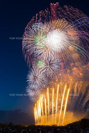 赤川花火記念大会「ヒ・カ・レ・ミ・ラ・イ・ヘ」の写真素材 [FYI00254250]