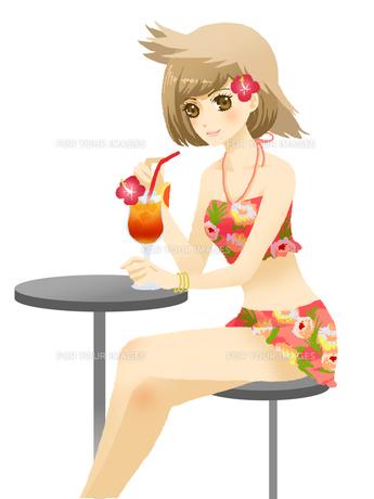 飲み物を飲む、水着の女性の写真素材 [FYI00254267]