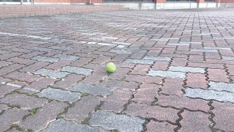 タイル敷の広場に転がってるテニスボールの写真素材 [FYI00257682]