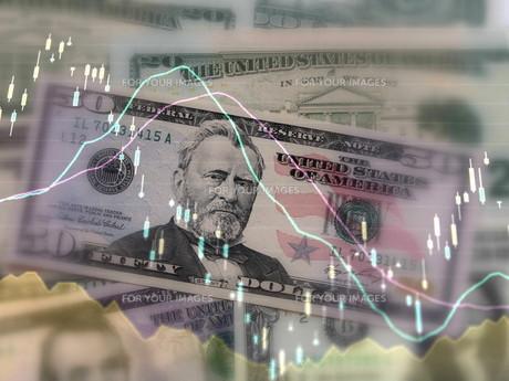 アメリカドル 株価 為替レートのイメージの素材 [FYI00259384]