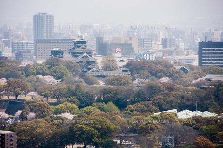熊本城と桜咲く阿蘇市街の風景の写真素材 [FYI00260071]