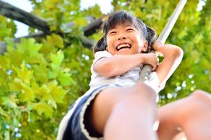 公園の遊具で楽しく遊ぶ女の子の素材 [FYI00260679]