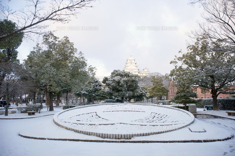 姫路城と姫路市市章の写真素材 [FYI00261073]