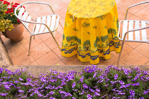 おしゃれな屋外テーブルの写真素材 [FYI00261916]