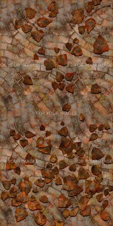 床 レンガ フカン 落ち葉の写真素材 [FYI00262067]