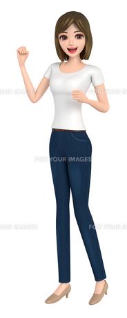 3D イラスト - ガッツポーズのTシャツとジーンズ姿の女性の写真素材 [FYI00262568]