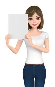 3D イラスト - ホワイトボードを手に持っているTシャツとジーンズ姿の女性 の写真素材 [FYI00262572]