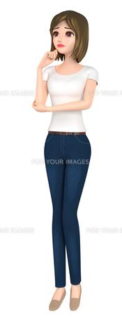 3D イラスト - 困り顔のTシャツとジーンズ姿の女性の写真素材 [FYI00262575]
