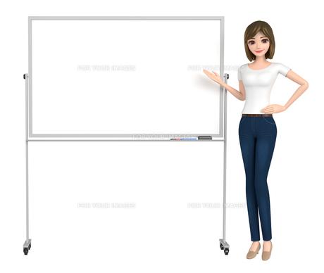 3D イラスト - ホワイトボードで説明しているTシャツとジーンズ姿の女性 の写真素材 [FYI00262595]