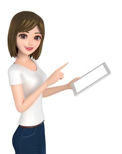 3D イラスト - タブレット端末を使っているTシャツとジーンズ姿の女性の写真素材 [FYI00262601]