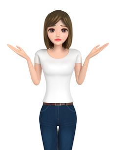 3D イラスト - 困り顔のTシャツとジーンズ姿の女性の写真素材 [FYI00262602]
