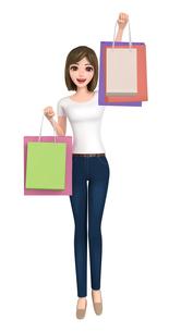 3D イラスト - ショッピングバッグを持っているTシャツとジーンズ姿の女性の写真素材 [FYI00262624]