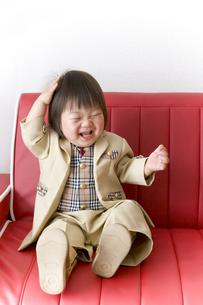 赤いソファーに座る入園式後の正装して笑う子供の写真素材 [FYI00263116]