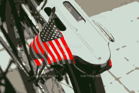 ニューヨークの自転車の荷台に付いている星条旗の写真素材 [FYI00263127]