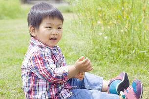 野原で遊ぶ子供の写真素材 [FYI00263254]