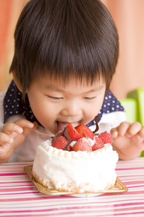 ケーキを舐める子供の写真素材 [FYI00263424]