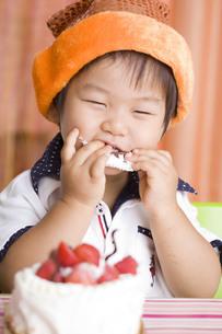 ケーキを食べる子供の写真素材 [FYI00263429]