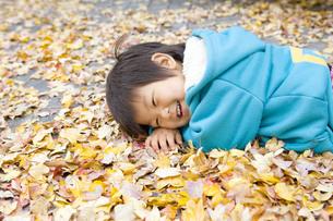 落ち葉の上で寝転がって笑う子供の写真素材 [FYI00263779]