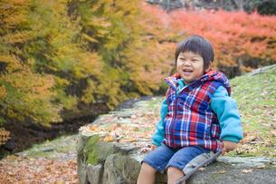 きれいな紅葉と子供の写真素材 [FYI00263813]