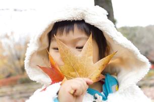 大きな葉と子供の写真素材 [FYI00263835]