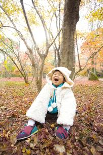 一面の落ち葉と子供の写真素材 [FYI00263847]