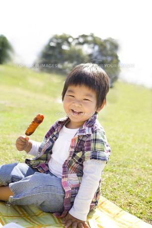 フランクフルトを食べる男の子の写真素材 [FYI00264029]