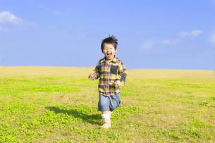 草原を元気に走る子供の写真素材 [FYI00264685]