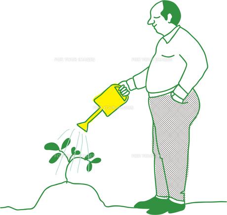木に水をやる男性の素材 [FYI00265560]