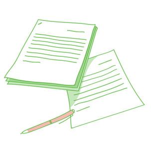 綴じた書類とボールペンの写真素材 [FYI00265617]