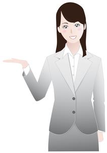 ビジネスウーマン紹介案内編グレーAの写真素材 [FYI00265719]