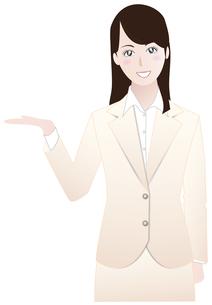 ビジネスウーマン紹介案内編ベージュAの写真素材 [FYI00265738]