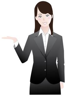 ビジネスウーマン紹介案内編黒Aの写真素材 [FYI00265743]