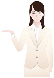 ビジネスウーマン紹介案内編ベージュBの写真素材 [FYI00265758]