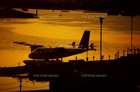 夕方の水上飛行機の写真素材 [FYI00266120]