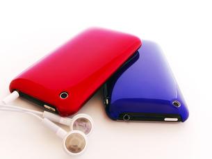 赤と青の携帯音楽プレーヤーの写真素材 [FYI00268910]