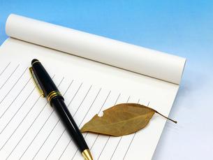 ボールペン、落ち葉と便箋の写真素材 [FYI00268924]