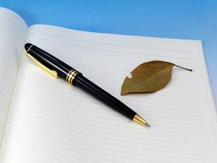 ボールペン、枯葉とノートの写真素材 [FYI00268931]