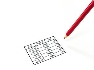 表と赤鉛筆の素材 [FYI00269029]