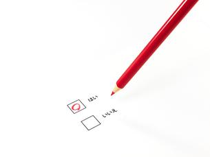はいに丸印した赤鉛筆の素材 [FYI00269037]