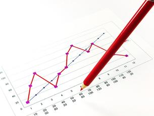 グラフと赤鉛筆の素材 [FYI00269047]
