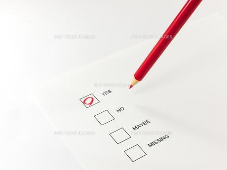 アンケートのイエスに丸した赤鉛筆の素材 [FYI00269049]