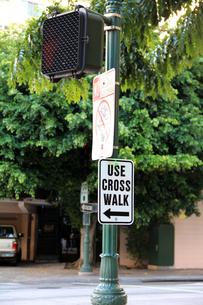 スクランブル交差点の歩行者用信号機の写真素材 [FYI00269298]