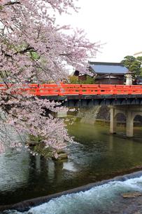 飛騨高山の宮川にかかる赤い中橋の写真素材 [FYI00269450]