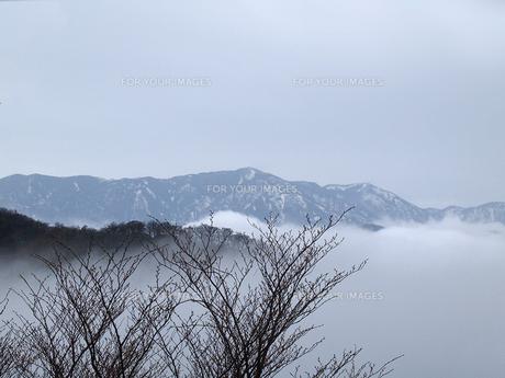 那須茶臼岳山麓からみたもやの中の山並みの写真素材 [FYI00271172]