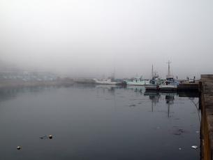 山から漁港に流れ込むもやの写真素材 [FYI00271183]