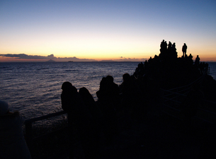 伊豆石廊崎の岩に上って初日を見る人々の素材 [FYI00271431]
